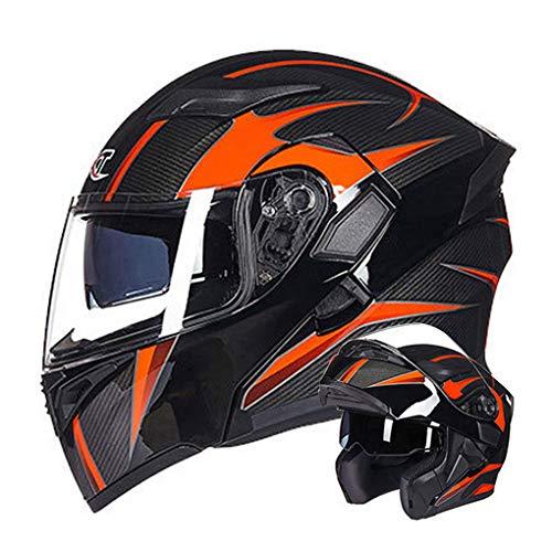 WEW Casco Modular de Motocicleta Unisex Textura de Fibra de Carbono Casco Integral Casco abatible Personalidad Adulta Cascos de cercanías con Doble Lente 4 Estaciones Casco de protección,C,59~60cm XL