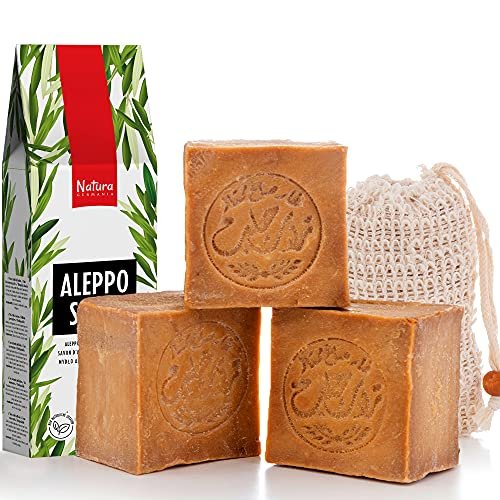 Natura Germania® 3x je ca. 200 gr original Aleppo Seife 90% Olivenöl / 10% Lorbeeröl + Sisal Seifensäckchen | Kernseife, Duschseife, Naturseife, festes shampoo