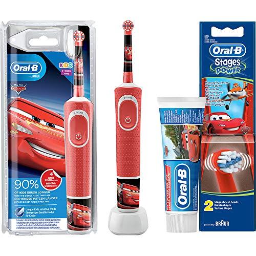 Oral-B Vitality KIDS CARS Elektrische Zahnbürste mit Disney-Stickern 3+ Jahre Rot Bundle Sparset
