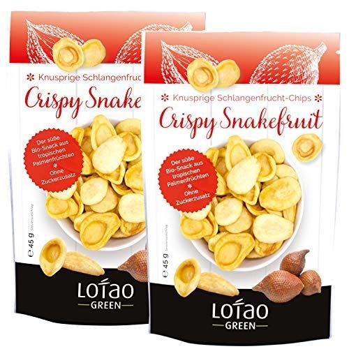 Lotao knusprige Schlangenfrucht Chips alternative mit fruchtigem Geschmack | Gesunder Snack Vegan | Bio Obst Chips | nachhaltig & hochwertig | 2er Pack (2 x 45g)