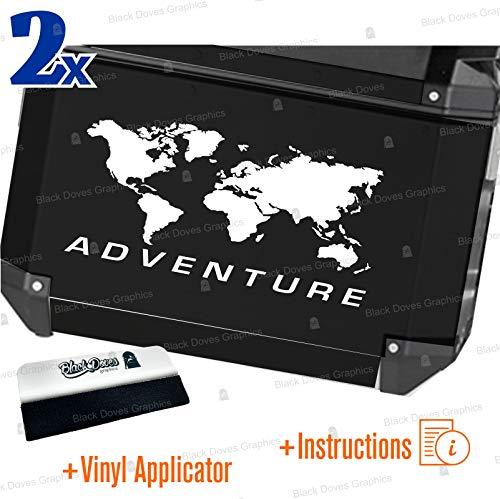 2 pegatinas World Adventure universales para varios tipos de maletas (blanco)