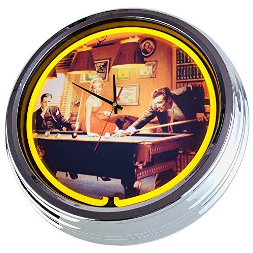 Neon Uhr Billiard Wanduhr Deko-Uhr Leuchtuhr USA 50's Style Retro Neonuhr Esszimmer Küche Wohnzimmer Büro (Gelb)