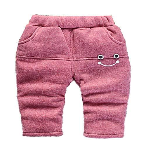 Ropa de otoño e invierno para niña, ropa de niña de felpa y pantalones casuales gruesos, para bebé, estilo primavera y otoño Smiley Cotton Pants Rojo 80 cm