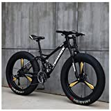 NENGGE Mountain Bikes, 26 Inch Fat Tire Hardtail Mountain Bike, Dual Suspension Frame and Suspension...