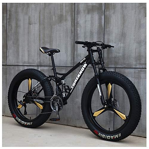 NENGGE Mountainbike MTB, 26 Zoll Fette Reifen Fahrrad, Fahrrad mit Scheibenbremsen, Rahmen aus Kohlenstoffstahl, MTB Fahrrad für Herren und Damen,24 Speed,Black 3 Spoke