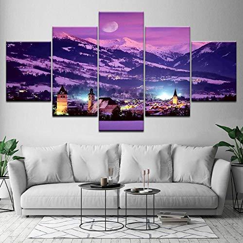 Wslin canvas schilderij stadsgezicht landschap 5 stuks muurkunst schilderij modulaire behang poster afdrukken woonkamer wooncultuur afdrukken op canvas 150X80cm