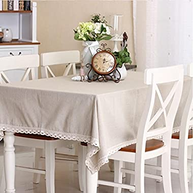 LINENLUX Everyday Kitchen Rectangular Tablecloth with Lace 6 piece table mat(white,55.1x78.7In) …