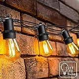 16 Meter LED Lichterkette Außen,OxyLED S14 Lichterkette Glühbirne LED Retro,IP65 Wasserdicht,16X1W LED Birnen E27 Warmweiß 2500K Beleuchtung für Innen und Außen Deko Garten Hochzeit