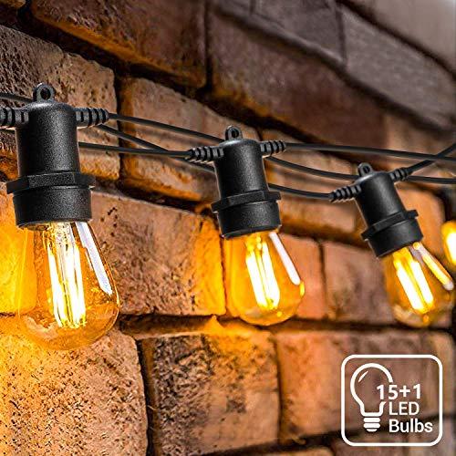16 Meter LED Lichterkette Außen,OxyLED S14 Lichterkette Glühbirne LED Retro,IP65 Wasserdicht,16X1W LED Birnen Warmweiß 2500K Beleuchtung für Innen und Außen Deko Garten Hochzeit