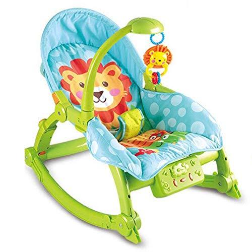 WYJW Baby schommelstoel, ligstoel, babybedje, multifunctionele baby comfort stoel, wiegbed, elektrische schommel, kinderen opvouwbaar,Groen,1