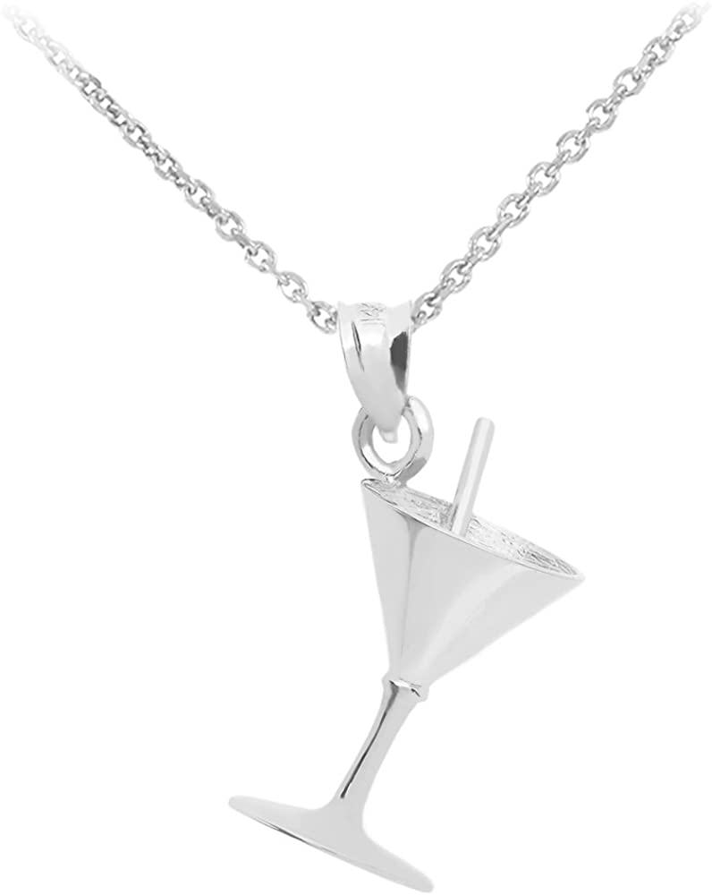 Max 55% OFF CaliRoseJewelry 3D Martini Las Vegas Mall Glass Pendant in with Necklace 14k Wh