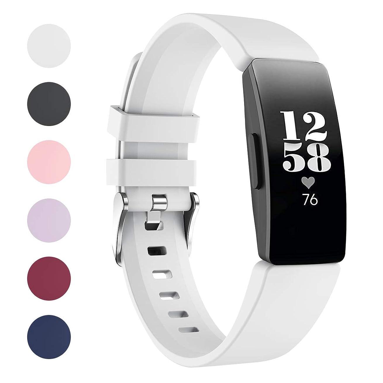 石の機会バルクVICARA for Fitbit Inspire/Fitbit Inspire HR バンド 交換用 柔らかいシリコン 調整可能 スポーツ ベルト for フィットビット Inspire/フィットビット Inspire HR シリカゲル(c-白い)