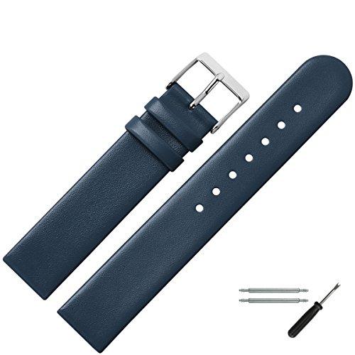 MARBURGER Uhrenarmband 18mm Leder Blau - Werkzeug Montage Set 7611850000120