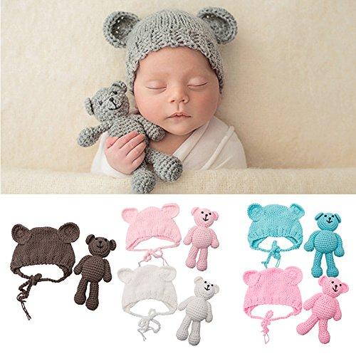 Baby Girl Boy Photography Prop Photo Crochet - Costume da orso + cappello