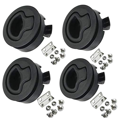 Angrylife Boat 2'' Flush Pull Slam Latch Black Plastic Round for RV Boat Marine Deck Hatch 1/2'' Door Cabinet Hardware Pack of 4 PCS