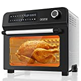 10-in-1 Toaster Oven with Rotisserie & Dehydrator, 24Qt Large Air Fryer Combo for Toast Bake Broil Roast, 1700W Digital Countertop Airfryer Oven 2 Convection Speeds, 7 Accessories & Recipe Included