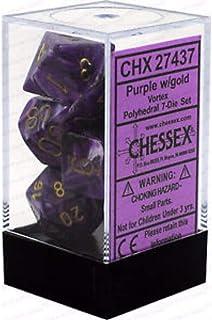 Chessex Vortex 7 piece Dice Set, Purple/Gold