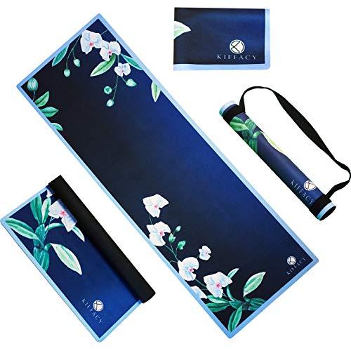 KIFFACY Esterilla de yoga plegable y ligera, antideslizante de 1,5 mm delgada, ideal para yoga, pilates, ejercicio de fitness, caucho natural ligero y portátil y lavable