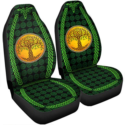 VTH GLOBAL Irish Celtic Shamrock Clover Car Seat Covers Set of 2 Universal Fit Accessories Birthday Ireland Trinity Knot Claddagh Gifts for Dad Mom Husband Wife Son Daughter Men Women