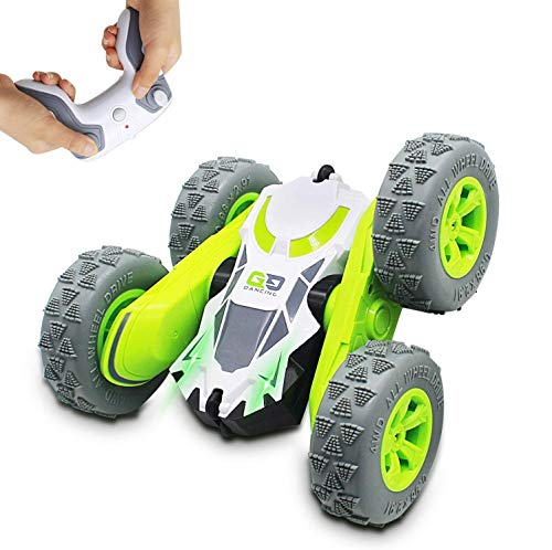 Seckton Remote Control Stunt Cars for Kids, Toys for Ages 6-12 Year Old Boys Girls, 4WD 2.4GHz Off Road Truck, Double Sided 360° Rotating RC Car Birthday Gifts(All Batteries Included)