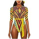 MERICAL Einteilige Badeanzüge für Frauen Afrikanischer Druck Bademode Push-Up Gepolsterter BH Badeanzug Beachwear