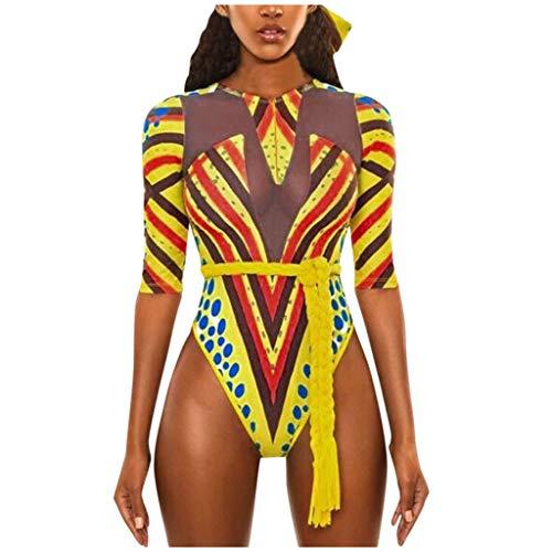 BELLA HXR Donne Un Pezzo Bikini Costumi da Bagno Stampa Africana Donna Manica Corta One Piece Swimwear con Imbottite Costume da Bagno Donna Push Up