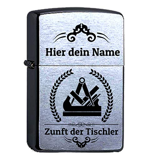 elbedruck Zunftsymbol Tischler Lasergravur Compatible with Zippo mit Gravur Personalisieren Dein Name, Schreiner, personalisiert, Zunft Zunftwappen
