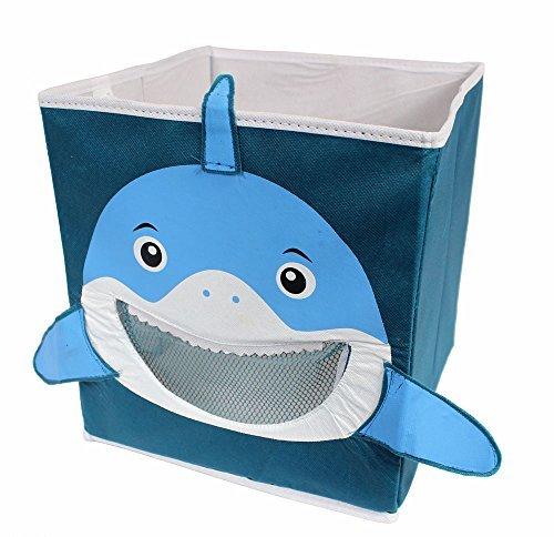 Einklappbarer Aufbewahrungsorganisierer für Kinderspielsachen mit Haimotiv