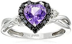10k White Gold Heart Shaped Amethyst with Round Black and White Diamond Ring