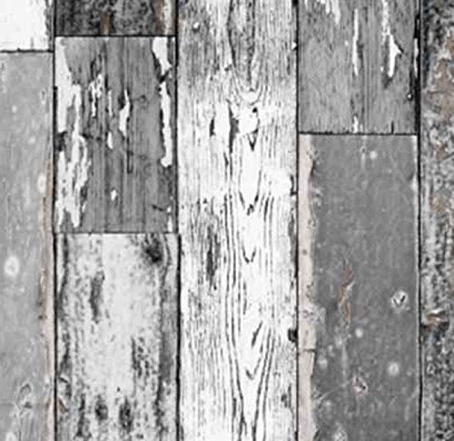 Klebefolie Holzdekor- Möbelfolie Holz Scrapwood grau dunkel - 45 cm x 200 cm Dekorfolie Selbstklebende Folie mit Dekor - Selbstklebefolie