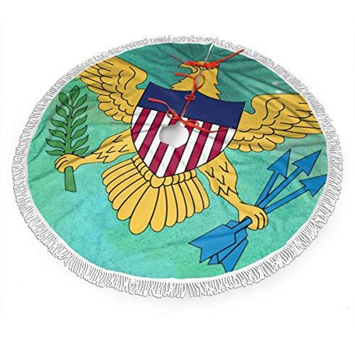 UKFaaa - Falda para árbol de Navidad, Bandera de Las Islas Vírgenes de los Estados Unidos, Falda Grande para árbol de Navidad con Flecos de Encaje, Tela, Negro, 121,9 cm