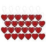 confezione di 24 rosso mini cuore di legno albero di natale da parete ciondolo decorazioni