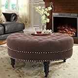 Baby Plum 34 inch Round Ottoman Coffee Table Wide Upholstered Cocktail Ottoman Tufted Foot Stool Nailhead Ottoman with Wheels Cocktail Ottomans with Stools for Bedroom Living Room (Coffee)
