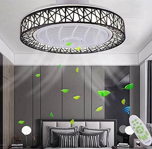 UWY Ventilador de Techo con lámpara, Ventilador de Techo LED Moderno Regulable con luz Invisible, Ventilador de Techo LED Moderno con iluminación, lámpara de Techo de 48 W para Sala de Estar, Negro
