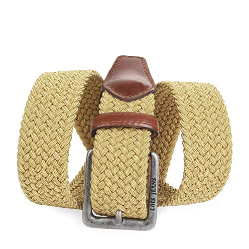 Lois - Cinturón Elástico de Piel y Tela 501001, Color Tostado