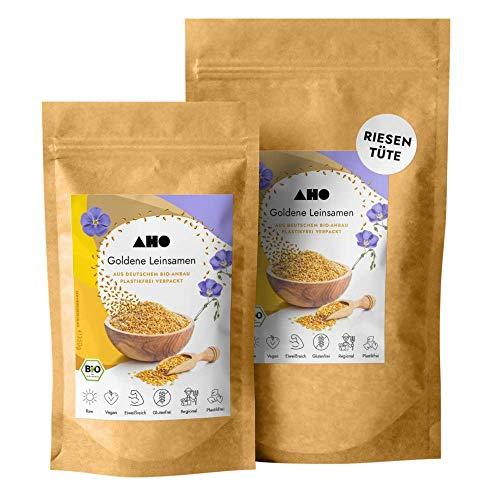 AHO Goldene Leinsamen aus deutschem Bio-Anbau 850g | 100% Plastikfrei, Regional, Öko | Lokales Superfood (850g)