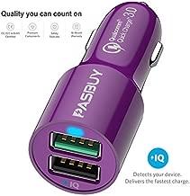 PASBUY 4.8A 31.5W QC 3.0 Dual USB Fast Car Charger for iPhone iPad, Samsung Galaxy, Note, HTC, Motorola, Nokia Etc (Purple.)