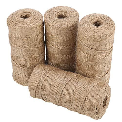 Thursday April Cordel de Yute 4 Rollo Cordel de Yute Natural de 2 mm Arts & Crafts Twine para Envoltura de Regalos para Decoración,Floristería,Artesanía,Bricolaje(Total 400m, marrón)