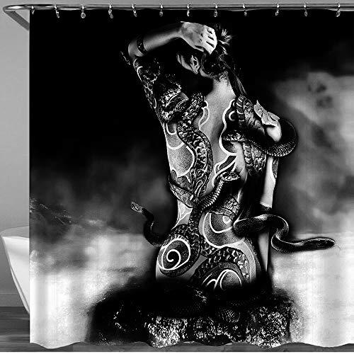 COFEIYISI Duschvorhänge Mädchen Yakuza Tattoo Einer Schlange aus einem Clan Sinoby sitzt auf einem Stein bei Wasser Fantasie Wasserdicht Bad Vorhang Polyester Stoff mit 12 Haken 180x180 cm