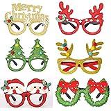6 piezas de gafas de fiesta con purpurina navideña, decoración para disfraz, gafas de fiesta, marco para regalos de vacaciones, estilo surtido, regalo de Navidad