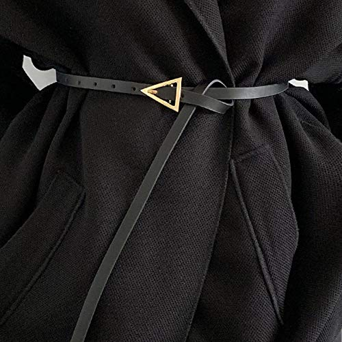 Ceinture Ceinture Fine en Cuir pour Femmes De Mode, Ceinture Noire À Boucle Ardillon Triangle en Métal, Ceinture De Décoration De Chemise Habillée Pou