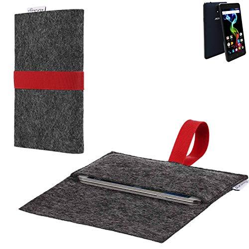 flat.design vegane Handy Hülle Aveiro für Archos 55b Platinum passgenaue Filz Tasche Case Sleeve Made in Germany