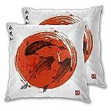 SUDISSKM Juego de 2 Fundas de Cojín,Tres Carpas koi y Sol Rojo en japonés Tradicional,Decorativa Cuadrado Suave Funda de Almohada Sofá Sillas Cama Decoración para Hogar 45x45cm