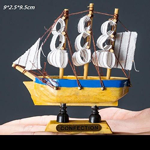 Modelo De Vela Con Redes De Pesca Barco De Madera Embarcaciones De Playa Artesanía Decoración Del Hogar Regalos Pintados A Mano Para El Dormitorio Del Automóvil Sala De Estar Estudio - Forma 9