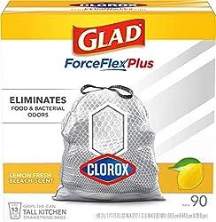 Glad Tall Kitchen Trash Bags ForceFlex Plus with Clorox, 13 Gallon, Lemon Fresh Bleach Scent 90 Coun