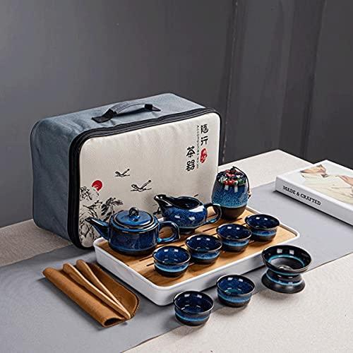 Uioy El Sistema de té de cerámica, Viajes China Kungfu Juego de té con 6 Tazas de té y té coladores, Porcelana pote del té con Bolsa de Viaje (Color : Blanco)