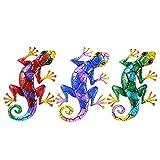 duhe189014 3 Stücke Deko Gecko Metall Echsen Dekofigur, Dekorative Wanddeko Salamander Eidechse Wandhänger Rostfreies Hängende Dekorationen Für Garten, Terrasse Oder Zaun, 43 x 27 cm portable