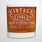 Bicchiere da whisky vintage 1998 per compleanno invecchiato alla perfezione, regalo di Bourbon Lowball Old Fashioned Stemless bicchiere da vino in vetro inciso al laser, 226,8 g