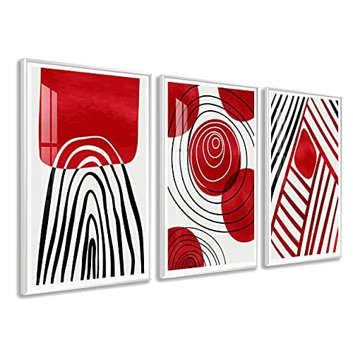 DekoArte - Cuadros Decoración | Moderno Sofisticado con Marco en PVC | Trípticos Decorativos Para Salón o Dormitorio | Póster con acrilico 0'5mm| Nordico, Abstracto, Minimalista | 3 piezas 150x70 cm