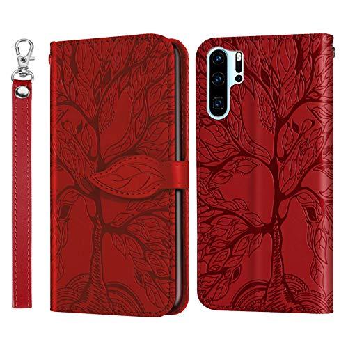Miagon Prägung Lederhülle für Huawei P30 Pro,Handyhülle Tasche Brieftasche Hülle Bookstyle Schutzhülle Flip Case Cover Klapphülle Kartenfächer,Baum Rot